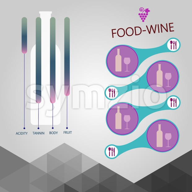 Food and wine info graphic, bottle with components description over silver background. Digital vector image. Stock Vector