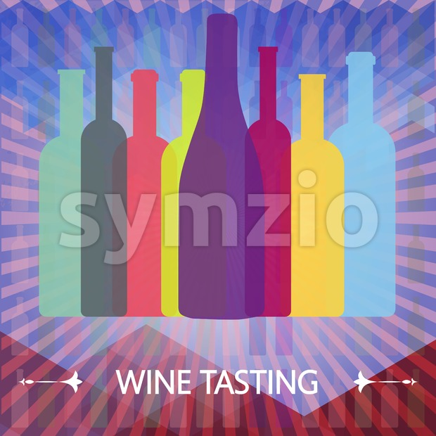 Wine tasting card, colored bottles over water color background with lines. Digital vector image. Stock Vector