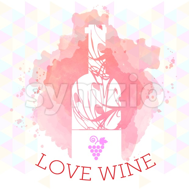 Wine tasting and love card, white bottle and grape sign over red background with water color. Digital vector image. Stock Vector