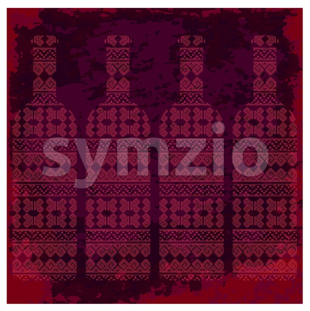 Wine tasting card, four bottles of red wine with pattern over dark background with water color. Digital vector image. Stock Vector