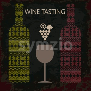 Wine tasting card, two bottles of white and red wine, a glass and grape sign over dark background. Digital vector image. Stock Vector