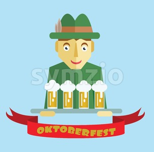 Vector Oktoberfest beer festival with cartoony hunter character, red ribbon and glasses of beer. Stock Vector