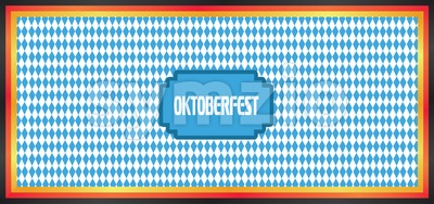 Vector Oktoberfest beer festival with german national colors and blue and white background. Stock Vector