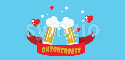Vector flat style one floor house with trees, hearts and beer glasses over blue background. Stock Vector