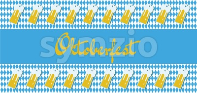 Vector Oktoberfest beer festival with beer glasses over blue and white background. Stock Vector