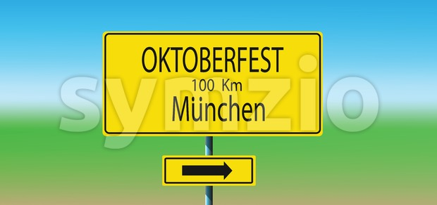 Vector with yellow road sign and direction to Oktoberfest beer festival in Munchen. Stock Vector