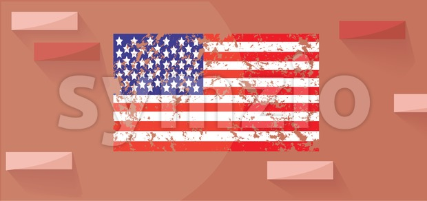 Vector Patriot Day, with american flag and bricks on the wall. Stock Vector