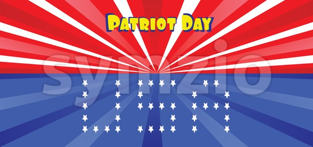 Vector Patriot Day, with blue and red stripes and stars and USA letters. Stock Vector