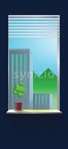 Vector abstract blue wall interior and view from window on buildings. Stock Vector