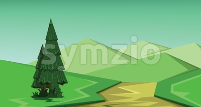 Vector abstract green landscape with a green pine tree, brown river and green hills, flat zigzag style. Stock Vector