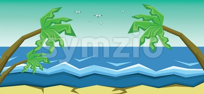 Vector abstract green landscape with sea, palm trees and flying birds, sand and seashore, flat zigzag style. Stock Vector