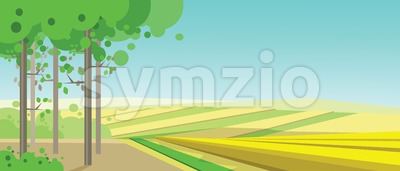 Vector abstract green landscape with yellow fields and a forest, flat zigzag style. Stock Vector