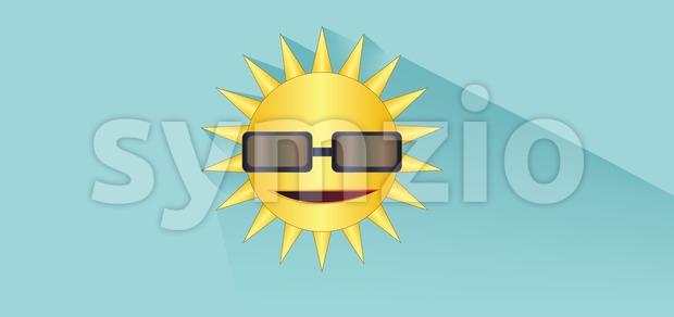 Sun with sunglasses design over white blue background, flat style. Digital image vector Stock Vector