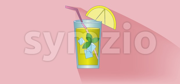 A lemonade cocktail glass with straw, mint and lemon slice design over pink background, flat style. Digital image vector Stock Vector