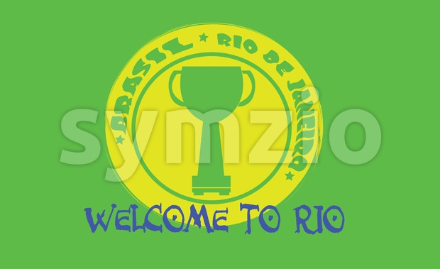 Welcome to rio card with a cup on yellow circle over green background, in outlines. Digital vector image Stock Vector