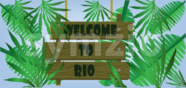 Welcome to rio text on planks card with palm branches over blue background. Digital vector image Stock Vector