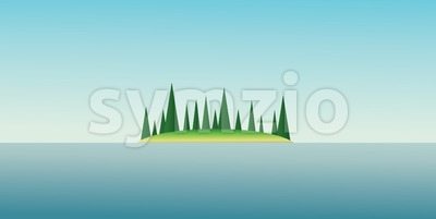 Abstract island design with green trees and blue water. Digital vector image Stock Vector