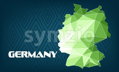 Germany country map design with green and white triangles over dark blue background with squares. Digital vector image Stock Vector