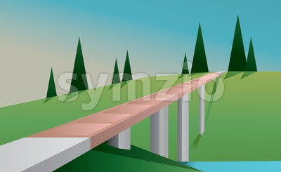 Abstract landscape with a bridge, a river, trees and green fields, flat style. Digital vector image Stock Vector