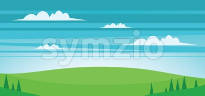 Abstract landscape with green fields, trees and clouds. Digital vector image Stock Vector