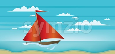 Abstract landscape with red boat, blue sea, white clouds and seashore. Digital vector image Stock Vector