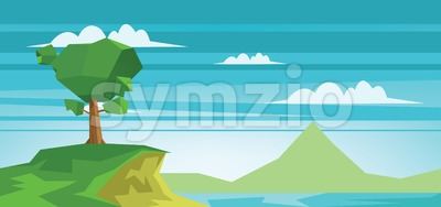 Abstract landscape with a lake and a green tree. Digital vector image Stock Vector