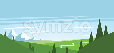 Abstract landscape with green fields, trees, river and mountains with snow. Digital vector image Stock Vector