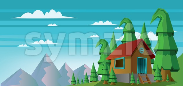 Abstract landscape with a house in the forest and mountains with white clouds. Digital vector image Stock Vector