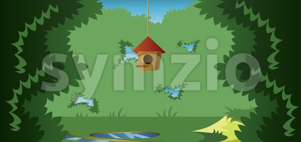 Abstract landscape with a cage for birds in a meadow in the forest. Digital vector image Stock Vector