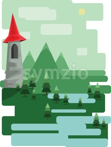 Abstract landscape design with green trees and clouds, a castle in the mountains and a lake, flat style. Digital vector image. Stock Vector