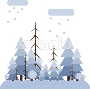 Abstract landscape design with white trees and clouds, snowing in a forest in winter, flat style. Digital vector image. Stock Vector