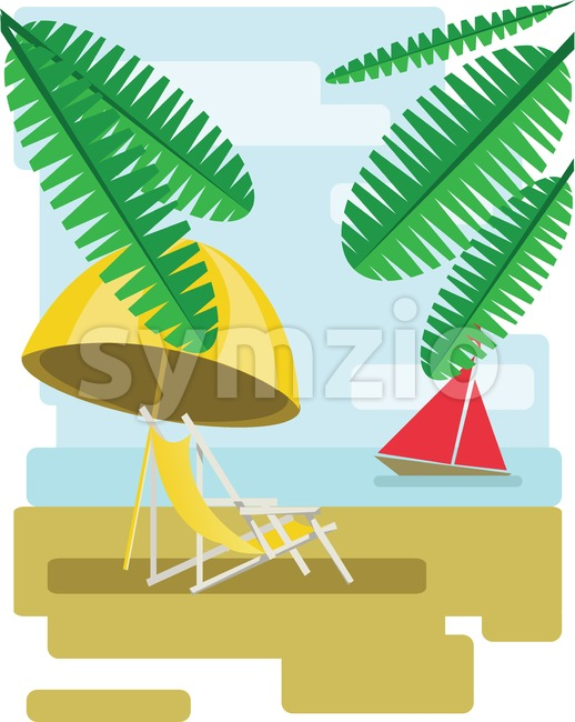 Abstract design with palm leaves, sand, beach umrella and chair and view to the sea with a red boat. Digital vector image Stock Vector