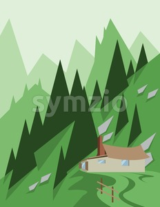 Abstract landscape design with green trees and hills, a house in the mountains, flat style. Digital vector image. Stock Vector