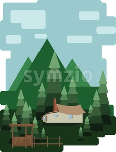 Abstract landscape design with green trees and clouds, a house in the forest, flat style. Digital vector image. Stock Vector
