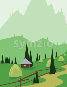 Abstract landscape design with green trees and hills, a brown house and hay in the mountains, flat style. Digital vector image. Stock Vector