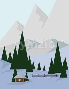 Abstract landscape design with green trees and silver mountains, a house in the forest and snow, flat style. Digital vector image. Stock Vector