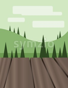Abstract landscape design with green trees, hills and clouds, wooden floor, flat style. Digital vector image. Stock Vector
