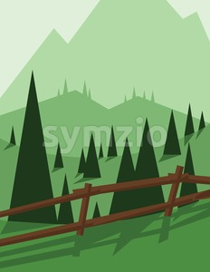 Abstract landscape design with green trees and hills, brown wooden fence, flat style. Digital vector image. Stock Vector