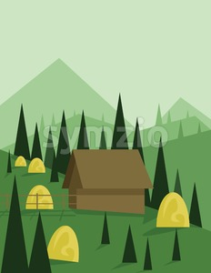 Abstract landscape design with green trees and hills, a brown house in the mountains and yellow hay, flat style. Digital vector image. Stock Vector