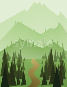 Abstract landscape design with green trees and hills, a brown road and view to mountains, flat style. Digital vector image. Stock Vector