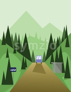 Abstract landscape design with green trees and hills, a brown road and view to mountains with a bus at a station, flat style. Digital vector image. Stock Vector