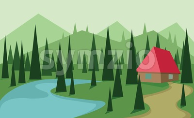 Abstract landscape design with green trees, hills and fog, big red house near a lake, flat style. Digital vector image. Stock Vector