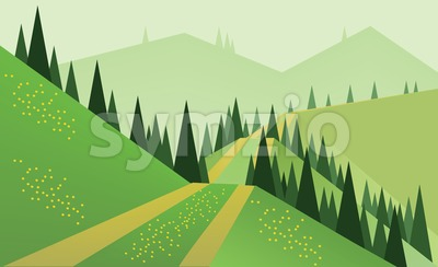 Abstract landscape design with green trees, hills and fog, a road and yellow flowers on fields, flat style. Digital vector image. Stock Vector