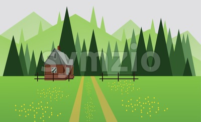 Abstract landscape design with green trees, hills and fog, a house and a road with yellow flowers on fields, flat style. Digital vector image. Stock Vector