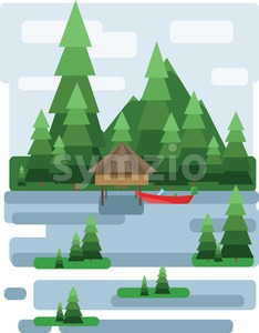 Abstract landscape design with green trees and clouds, a house and a boat on a lake, flat style. Digital vector image. Stock Vector