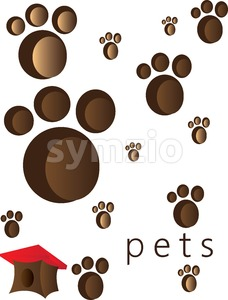 Pets and animals foot steps and traces with a small red roof cage. Digital vector image. Stock Vector