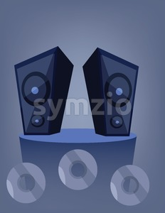 Two blue music speakers on a deck over a blue background with dvd and cd disks. Digital vector image. Stock Vector