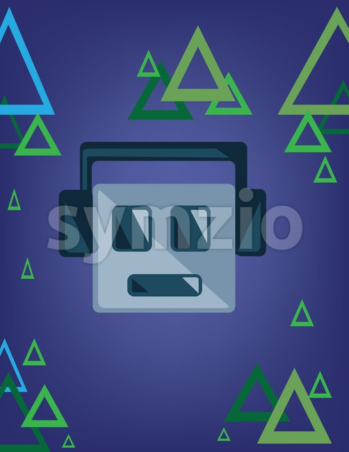 Music emoticon with smile and headphones over a blue background with green and blue triangles. Digital vector image. Stock Vector