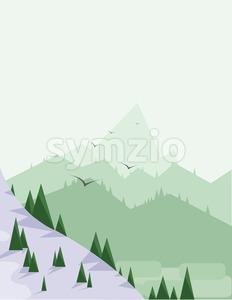 Abstract landscape with pine trees, snow, birds and green hills, over a light green background. Digital vector image. Stock Vector