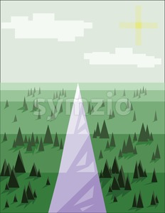 Abstract landscape with pine trees, snow, sun and purple road, over a light green background. Digital vector image. Stock Vector